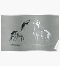 Blinding Darkness: Dark and Light Minimal Abstract Gel Pen Horses Poster