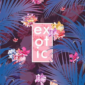Exotic floral collage with purple palma and flwers by mikath