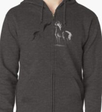 Blinding Darkness: Dark and Light Minimal Abstract Gel Pen Horses Zipped Hoodie