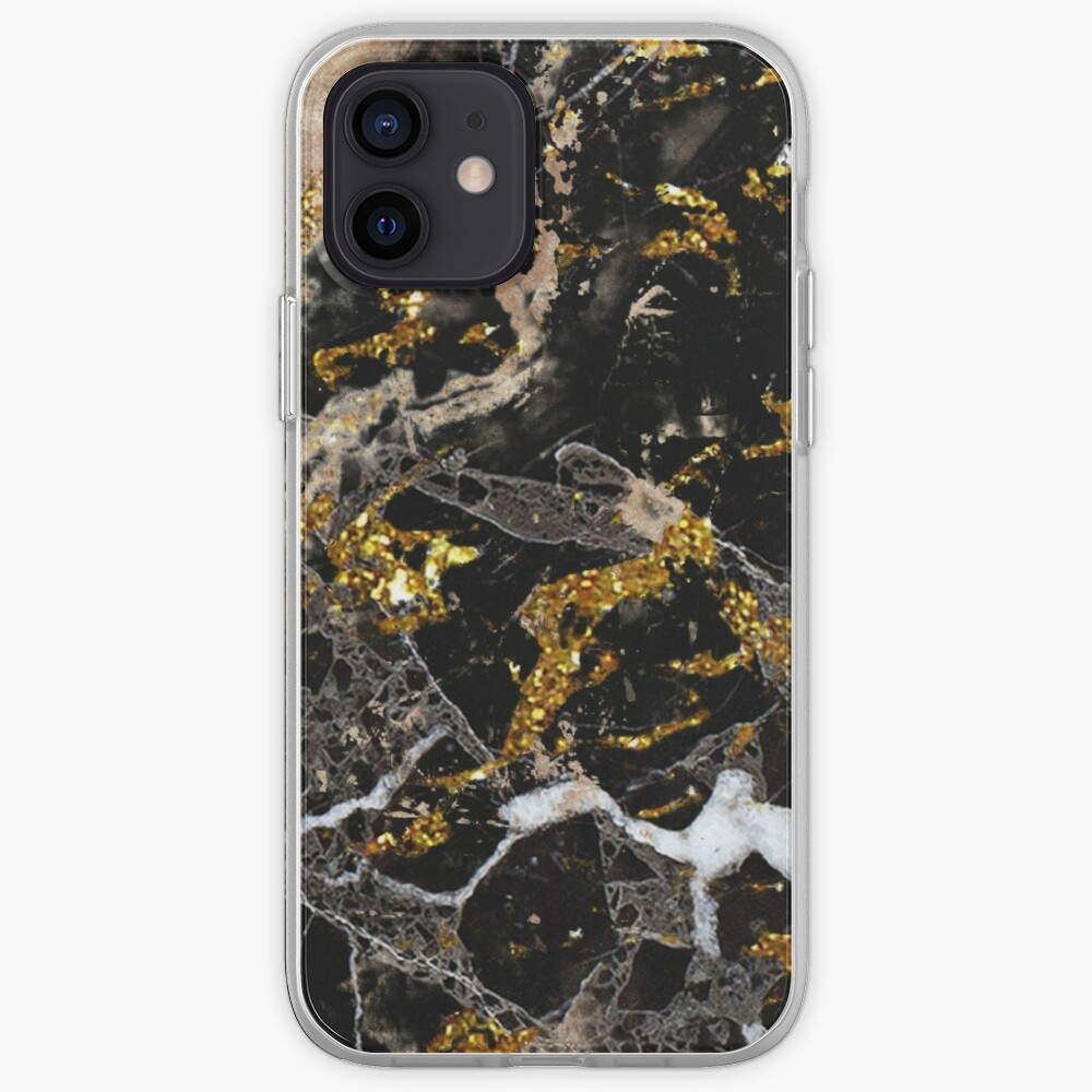Dark marble stone pattern with golden glitter iPhone Case & Cover