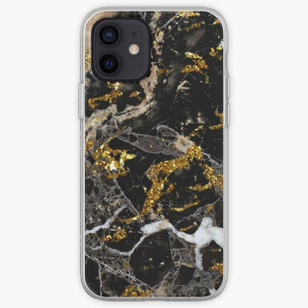Dark marble stone pattern with golden glitter iPhone Soft Case