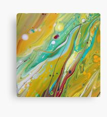 Fluid Nature - Sunny Springtime  - Abstract Acrylic Pour Art Canvas Print