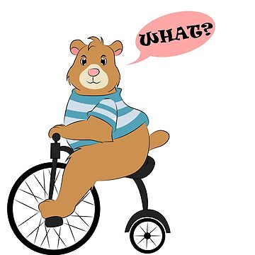 Teddy on retro bike by schnibschnab