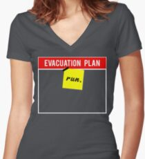 Evacuation plan-Run!  Women's Fitted V-Neck T-Shirt