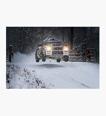 Subaru Rally Car Flying Through The Snow Photographic Print