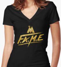 Maluma Gold Fame Logo Women's Fitted V-Neck T-Shirt