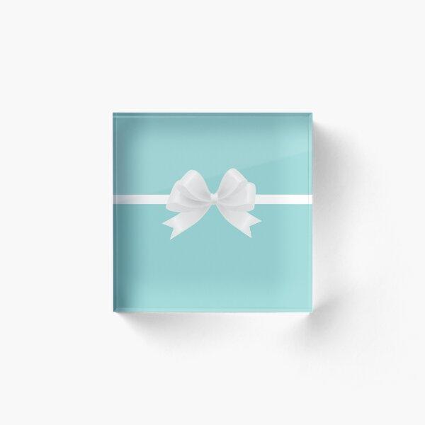 Turquoise & White Bow Acrylic Block