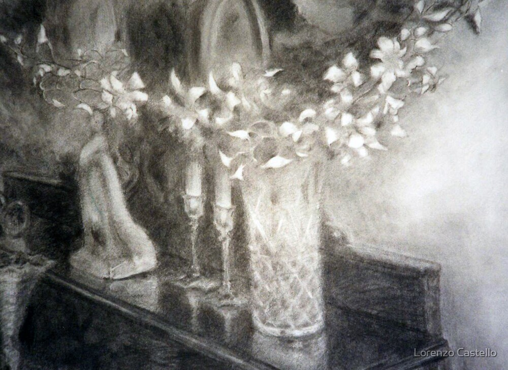 Orchids in a vase by Lorenzo Castello
