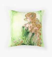 Lady in Green Steampunk Absinthe Fairy pillow Throw Pillow
