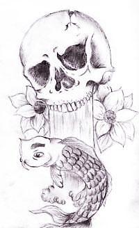 Skull & Koi by stifflaa