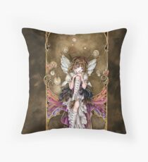 Gears and Glass Steampunk Fairy Throw Pillow