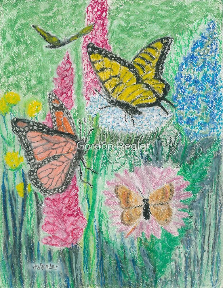 Butterflies and Flowers   -oil pastels by Gordon Pegler