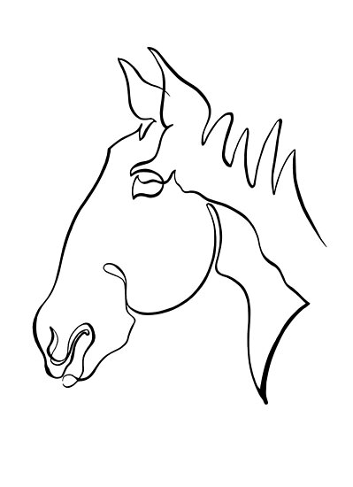 Minimal Horse - Single line drawing\