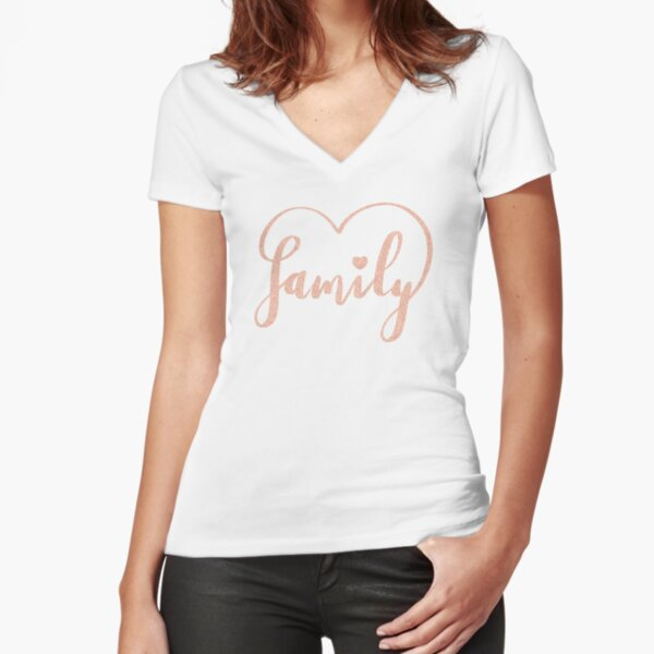 Family Love by Alice Monber Fitted V-Neck T-Shirt