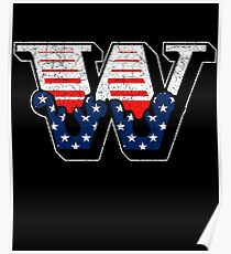 W RETRO STYLE CAPITAL LETTER INITIAL T-SHIRT CLASSIC VINTAGE DISTRESSED STARS AND STRIPES AMERICAN USA FLAG AMERICA 4th JULY FONT LOGO TYPEFACE LETTERING TYPOGRAPHY MONOGRAM TEE Poster