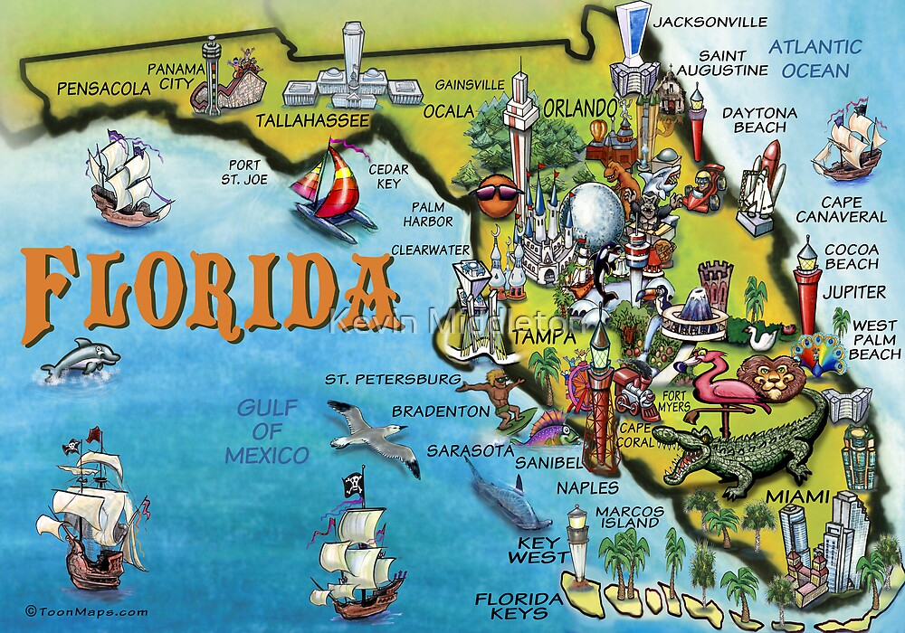 Cartoon Map of Florida by Kevin Middleton Redbubble