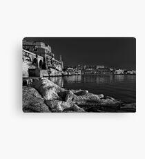 Mono Birgu Rocks  Canvas Print