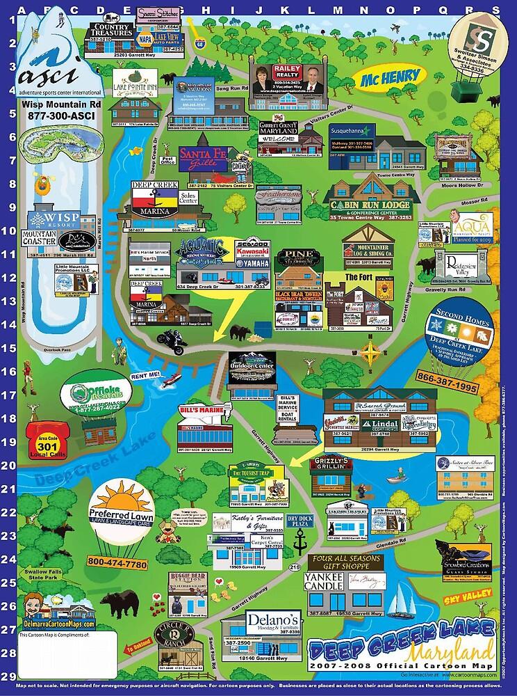 Deep Creek Lake, Maryland Cartoon Map by Randy Westergren