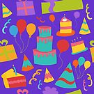 Seamless Birthday Party Background with Cake, Streamers, and Presents by Pamela Maxwell