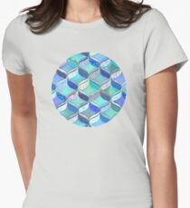 Patchwork Ribbon Ogee Pattern in Blues & Greens T-Shirt