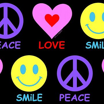 Peace Love Smile Pattern by ArtVixen