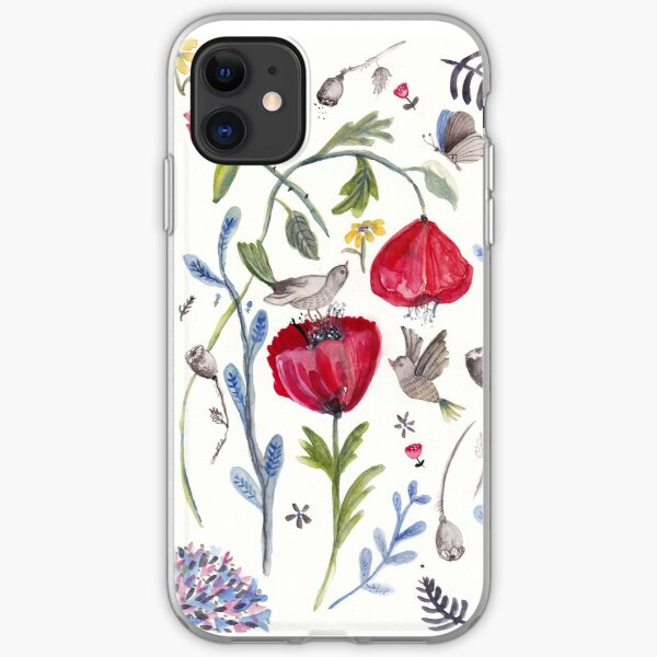 Red poppies and roses iPhone Soft Case