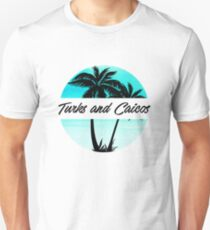 Turks and Caicos Caribbean Palm Trees Souvenir Vacation Travel Design Unisex T-Shirt