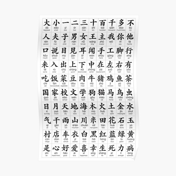 100 most common Chinese characters Poster