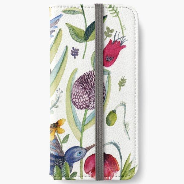 exotic garden and  hummingbirds iPhone Wallet