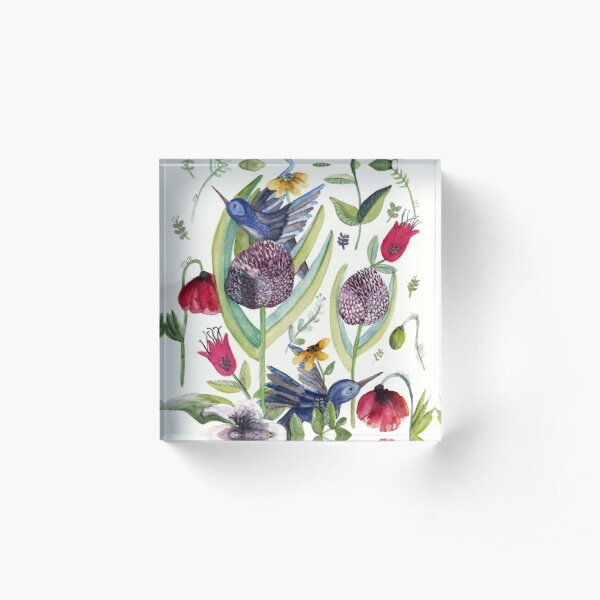 exotic garden and  hummingbirds Acrylic Block