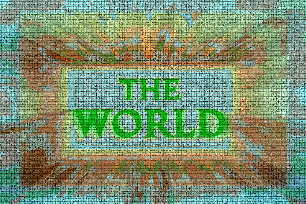 """Bold and Colorful Signage of """"The World"""" by SteveOhlsen"""