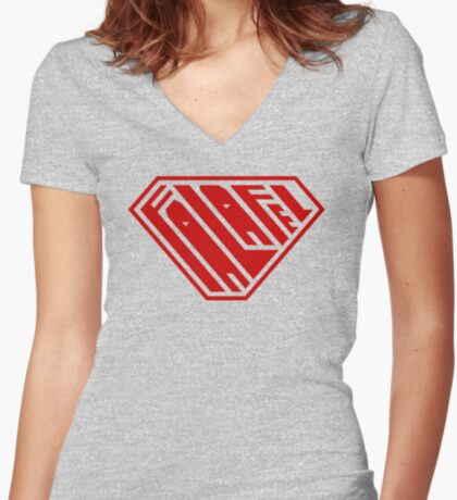 Falafel SuperEmpowered (Red) Women's Fitted V-Neck T-Shirt