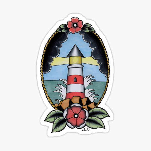 Traditional Nautical Tattoo Lighthouse Pastel Sticker