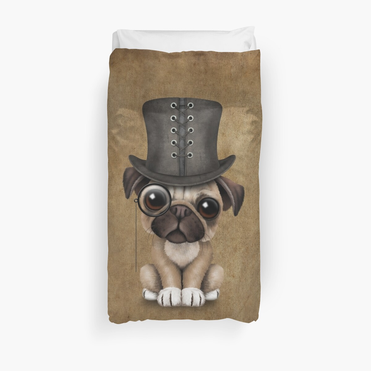 98a84c8cac4 Cute Pug Puppy Dog with Monocle and Top Hat