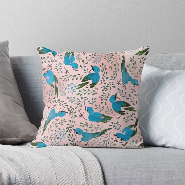 Birds in spring Throw Pillow