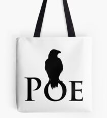 The raven sitting on E. A. Poe Tote Bag