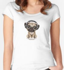 Cute Pug Puppy Dj Wearing Headphones and Glasses Women's Fitted Scoop T-Shirt