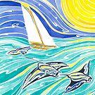 Manta rays and Polynesian sail boat by Andrea England
