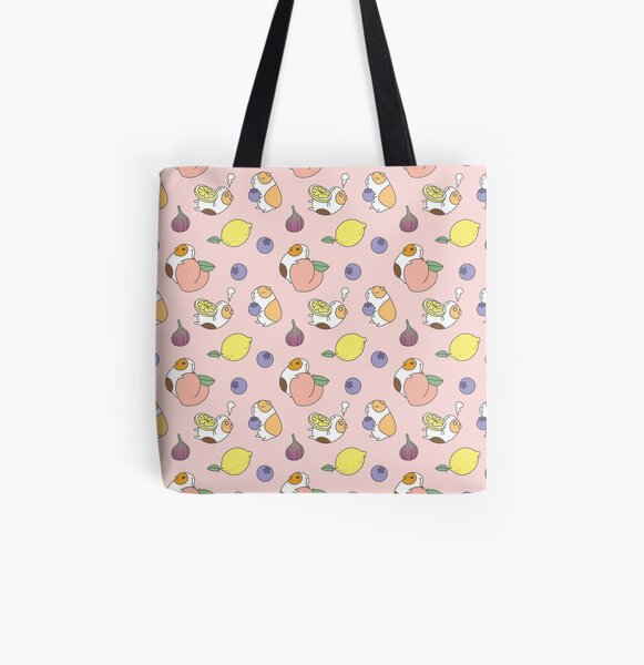 Guinea pigs with fruits pattern All Over Print Tote Bag