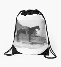 Saddle Horse in Farm Yard Drawstring Bag