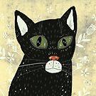 Black cat  by greenrainart