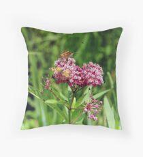 Swamp Milkweed (Asclepias incarnata L.) With Butterflies, Bees & Bugs! Throw Pillow
