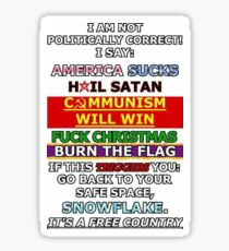 Leftist Political Correctness Meme Sticker Sticker