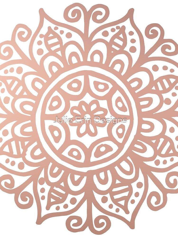 Rose Gold Floral Mandala by julieerindesign