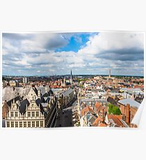 Cityscape of Ghent from the belfry Poster