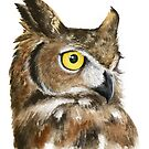Great Horned Owl Watercolor by Denise Soden