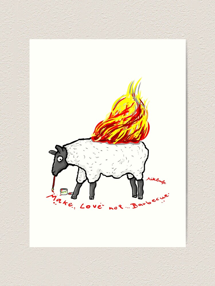 Alternate view of make love not bbq Art Print