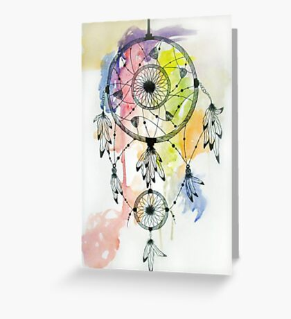 Watercolor Tumblr Dreamcatcher Greeting Card