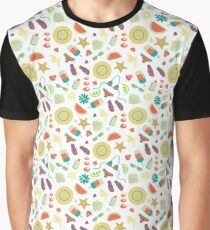 Summer seamless pattern with summer day elements clip art set  Graphic T-Shirt