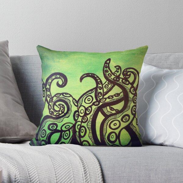 Green Tentacles Throw Pillow